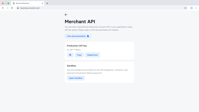 Settings - Merchant API