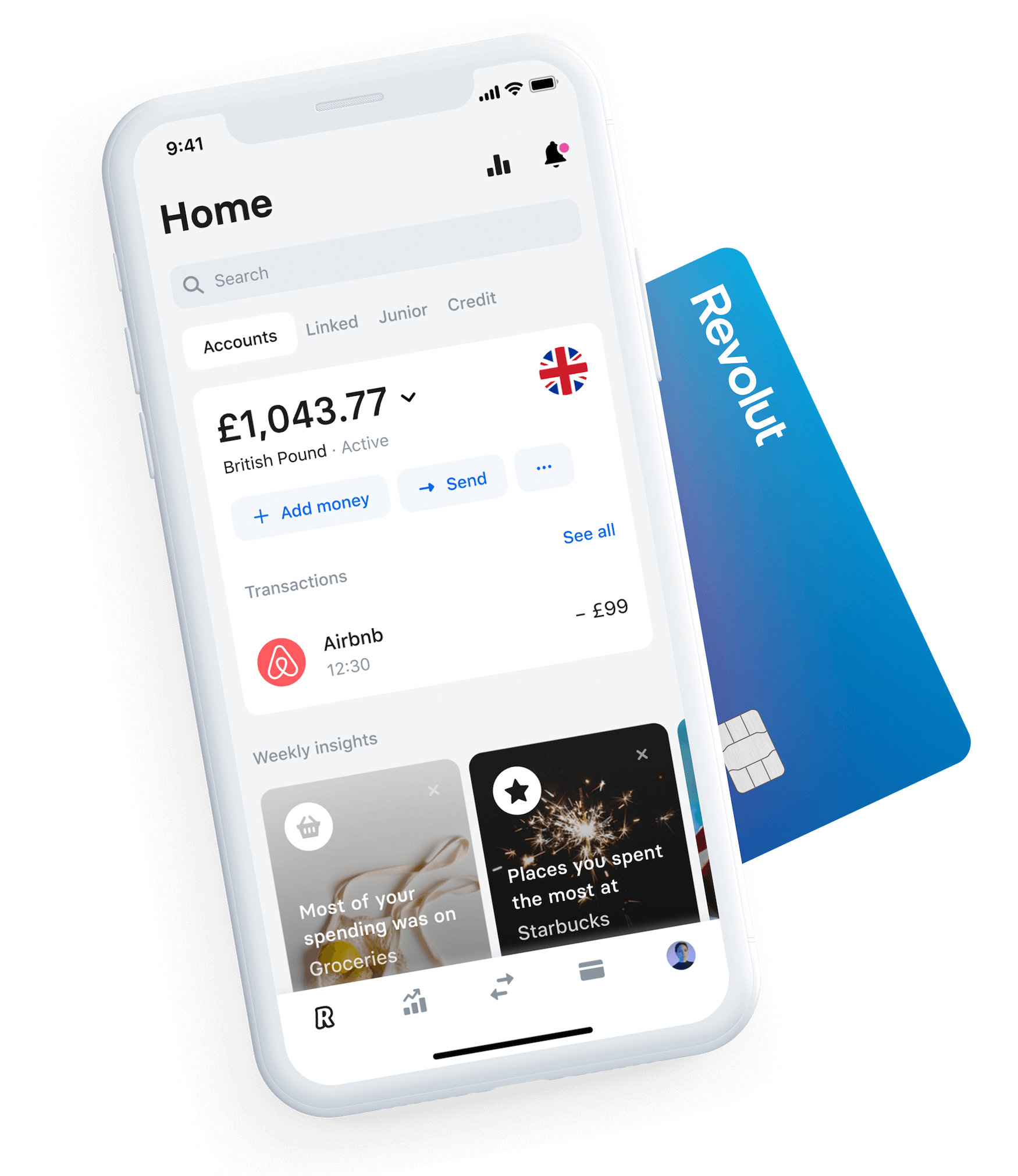 Revolut main screen