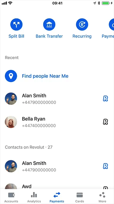 Free and fast money transfers between Revolut customers
