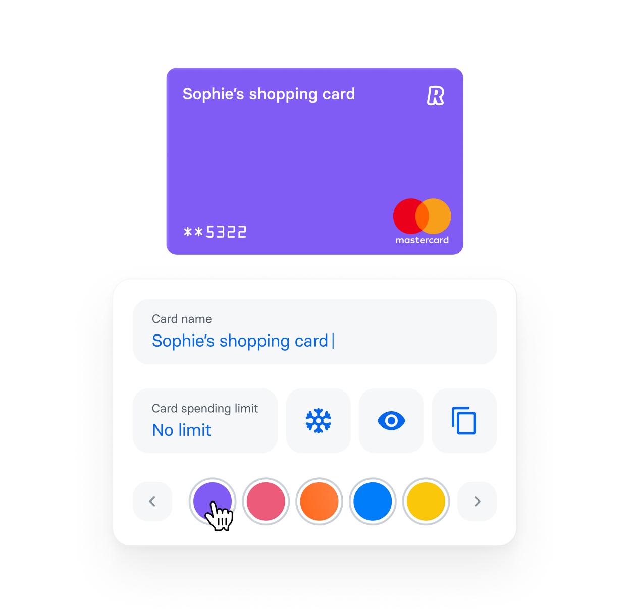 Bezahle mit einem Klick mit personalisierten Karten.