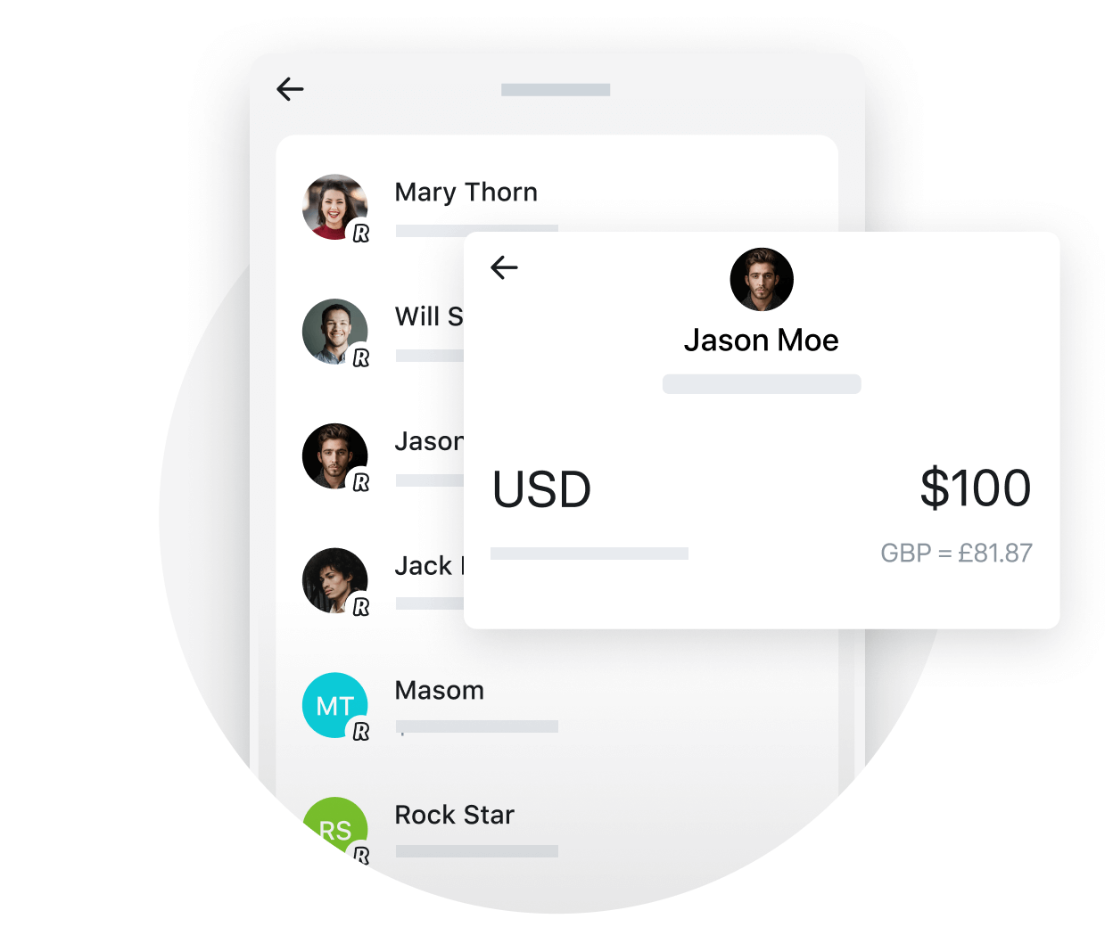 Instant transfers to Revolut users in 30+ currencies